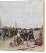 Fish Sale On The Beach  Wood Print by Bernardus Johannes Blommers