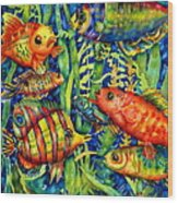 Fish Tales IIi Wood Print by Ann  Nicholson