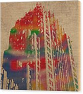 Fisher Building Iconic Buildings Of Detroit Watercolor On Worn Canvas Series Number 4 Wood Print