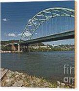Fisherman At Birmingham Bridge Pittsburgh Pennsylvania Wood Print by Amy Cicconi