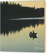 Fisherman At Dusk Wood Print by Nancy Harrison