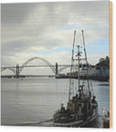 Fisherman At Newport Bay In Oregon II Wood Print