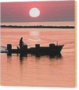 Fisherman At Sunrise Apalachicola Bay Florida  Wood Print by Bill Swindaman