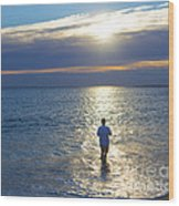 Fisherman At Sunrise Wood Print by Diane Diederich