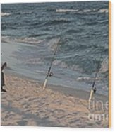 Fisherman At The Beach Wood Print