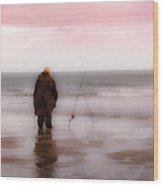 Fisherman By The Sea Wood Print