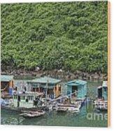 Fisherman Floatting Houses Wood Print by Sami Sarkis