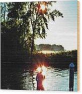 Fisherman In Sunfire Wood Print by Judy Via-Wolff