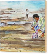 Fisherman On Las Canteras Beach Wood Print