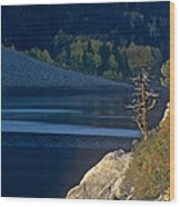 Fisherman On Lundy Lake Eastern Sierras California Wood Print