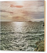 Fisherman On The Cliff At Sunset Wood Print