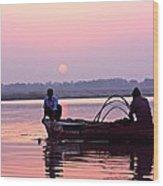 Fisherman On The Ganges River At Varanasi Wood Print
