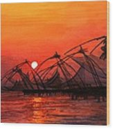 Fisherman Sunset In Kerala-india Wood Print
