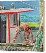 Fisherman Working On His Boat Wood Print