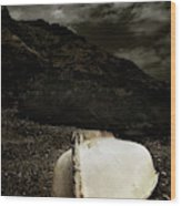 Fishermans Boat Parked On The Beach Wood Print