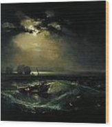Fishermen At Sea Wood Print