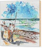 Fishermen In Praia De Mira 02 Wood Print