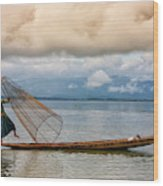 Fishermen In The Inle Lake. Myanmar Wood Print