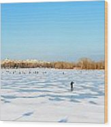 Fishermen On The Frozen River Wood Print