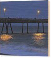 Fishermen On The Pacifica Pier Wood Print