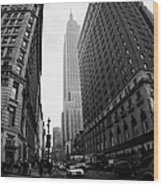 fisheye shot View of the empire state building from West 34th Street and Broadway junction Wood Print