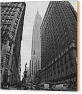 fisheye shot View of the empire state building from West 34th Street and Broadway new york usa Wood Print