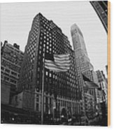 Fisheye View Of 34th Street From 1 Penn Plaza New York City Wood Print