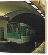 Fisheye View Of Paris Subway Train Wood Print