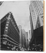 Fisheye View Of The Herald Square Building And Cross Walks Over Broadway New York Wood Print