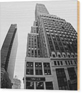fisheye view of the Nelson Tower and 1 penn plaza in the background from junction of 34th street and Wood Print