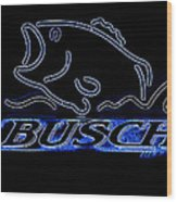 Fishing And Busch Beer In Neon Wood Print