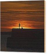 Fishing As Sunset Wood Print by Tony Reddington