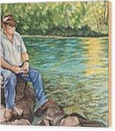 Fishing At Aviemore Wood Print