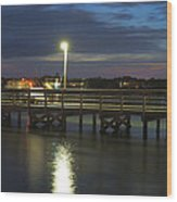 Fishing At Soundside Park In Surf City Wood Print by Mike McGlothlen