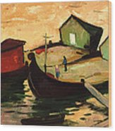 Fishing Barges On The River Sugovica Wood Print by Emil Parrag