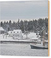 Fishing Boat After Snowstorm In Port Clyde Harbor Maine Wood Print
