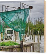 Fishing Boat And Pelicans On Posts Wood Print