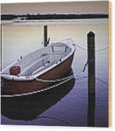 Fishing Boat At Dawn Wood Print