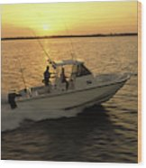 Fishing Boat Coming In At Sunset Wood Print