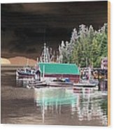 Fishing Boat Dock - Ketchican - Alaska - Photopower 02 Wood Print