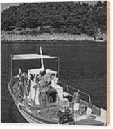 Fishing Boat In Asos Village Wood Print