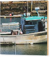 Fishing Boat In Rockport Wood Print