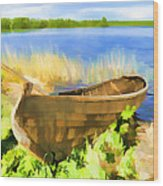 Fishing Boat Kizhi Island Wood Print