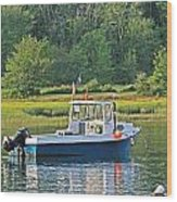 Fishing Boat Cape Neddick Maine Wood Print