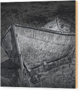 Fishing Boat On Shore In Black And White Wood Print