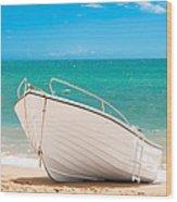 Fishing Boat On The Beach Algarve Portugal Wood Print