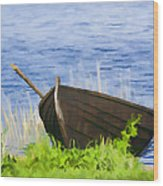Fishing Boat On The Volga Wood Print