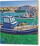 Fishing Boat On Turquoise Sea Wood Print