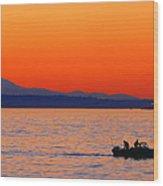 Fishermen At Sunset Puget Sound Washington Wood Print