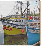 Fishing Boat Reflection In Branch-newfoundland-canada Wood Print